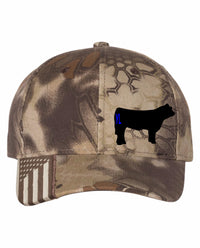 Branded Cow Camo Outdoor Cap with Flag Visor
