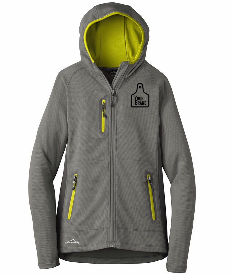 Ladies Cow Tag Eddie Bauer Sport Hooded Full Zip