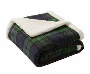 Cow Tag Flannel Sherpa Blanket