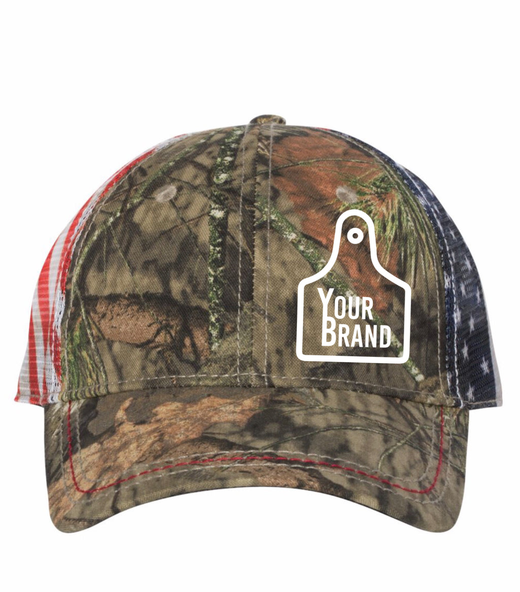 Cow Tag Outdoor Cap with Flag Mesh