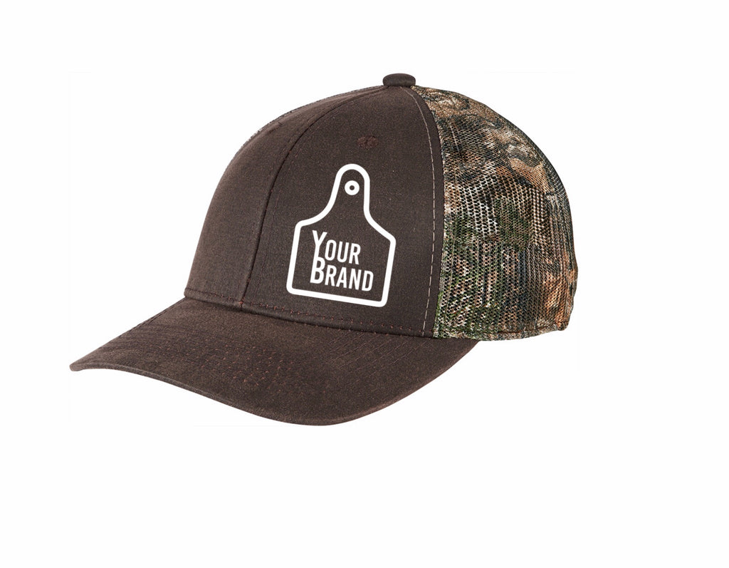 Cow Tag Camo Print Back Snap Back Hat