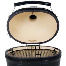 Load image into Gallery viewer, Primo All-In-One Oval Junior Ceramic Kamado Grill With Cradle & Side Shelves $1,347.00