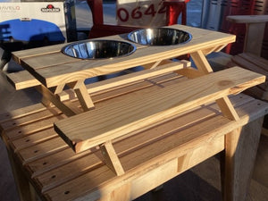 "Veteran Hand Crafted Dog Bowl Mini Picnic Table Pine 14"" x 18"" $39.97"