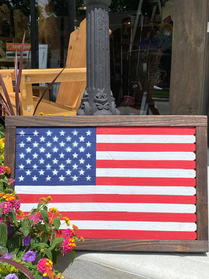 Wooden Hand Made American Flag Small