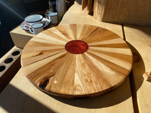 "Lazy Susan 18"" Veteran Hand Crafted Hickory (Assorted Colors/Style)"