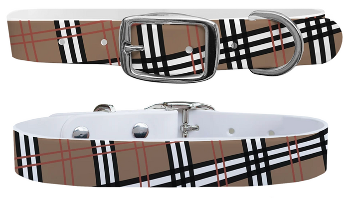 C4 Khaki Plaid Dog Collar