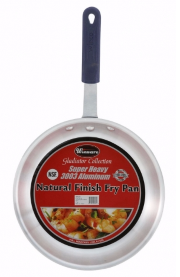 "Winco AFP-7A-H Gladiator 7"" Aluminum Fry Pan with Sleeve - Natural Finish"