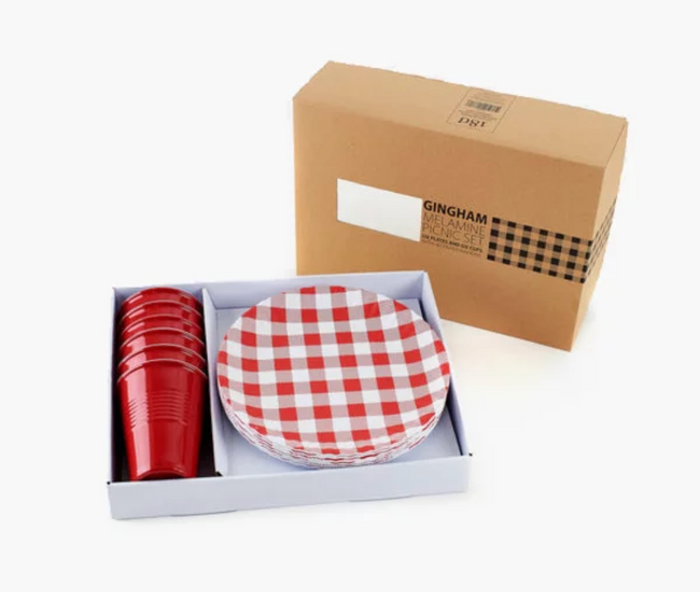 RED GINGHAM MELAMINE PICNIC SET (ASSORTED COLORS)