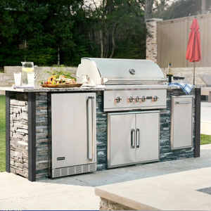 Coyote Ready-To-Assemble 8 Ft Outdoor Kitchen Island With 36-Inch S-Series Propane Gas Grill - Stacked Stone/Stone Gray - RTAC-G8-SG-C2SL36LP by Coyote Outdoor Living ID # 3054909 Model # RTAC-G8-SG-C2SL36LP