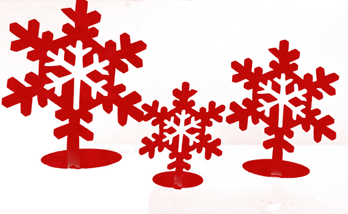 Snowflake Candle Holder Set Steel (Assorted Colors)