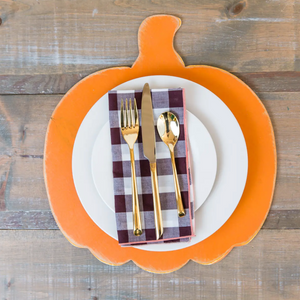 Pumpkin Placemats Wooden, Set of 4