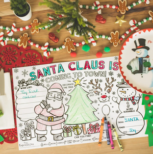 Christmas Paper Santa Placemats for Kids Table Decoration