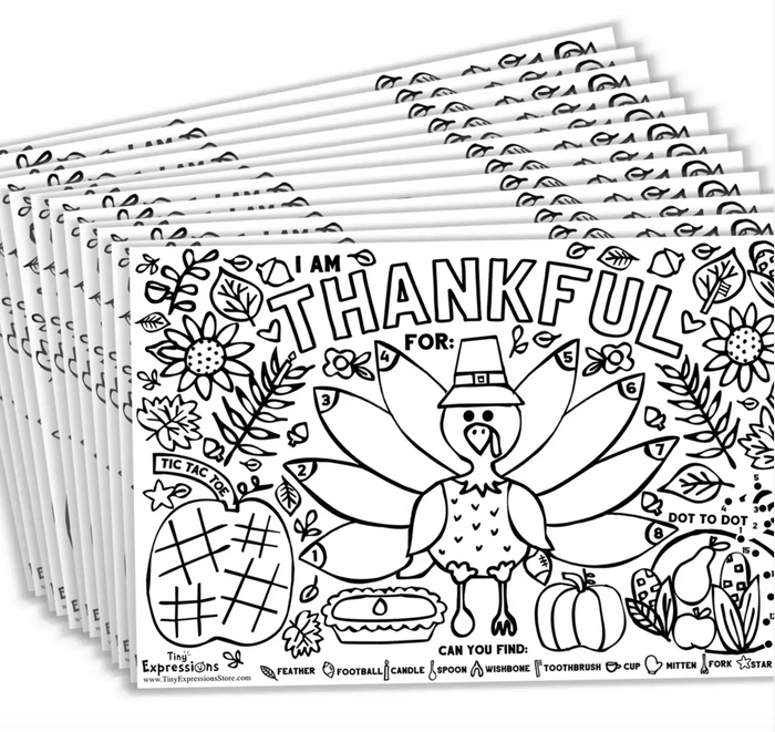 Thanksgiving Coloring Turkey Paper Placemats for Kids Table