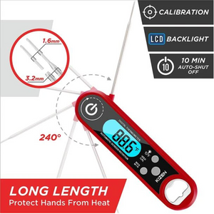 Instant Read Meat Thermometer - Folding Waterproof Thermometer with Backlight & Calibration