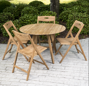 "Surf Round Teak Dining Set for 4 - Round 42"" Dia Table - 70519"