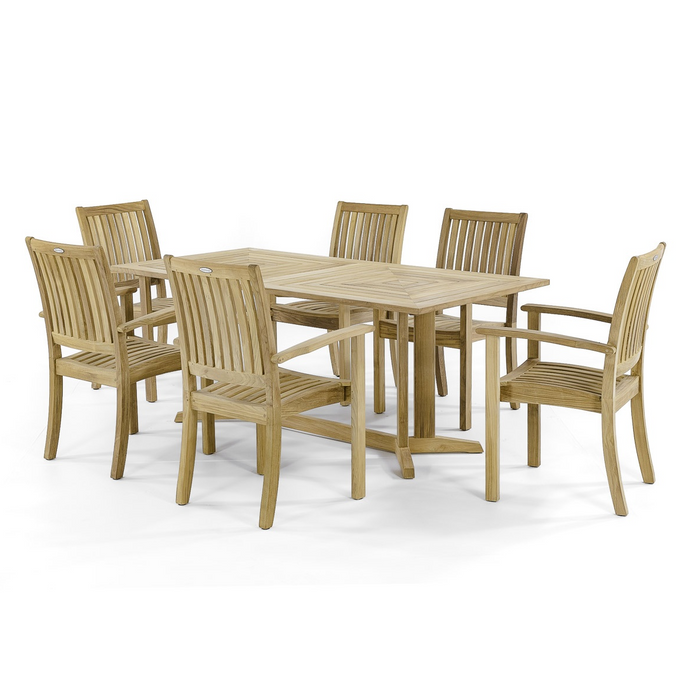 "Sussex Pyramid Teak Dining Set for 6 - Rectangular 72"" Table - 70517"