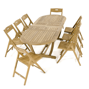 "Montserrat Surf 9 pc Dining Set - Oval 103"" Extendable Table - 70516"