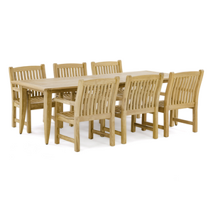 Grand Laguna Veranda 7 pc Teak Dining Set - Rectangular 11 FT Extendable Table - 70815 -