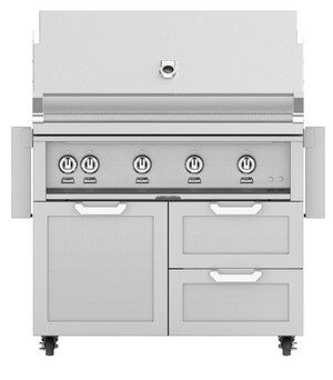 Hestan 42-Inch Propane Gas Grill W/ Sear Burner & Rotisserie On Double Drawer & Door Tower Cart (Colors Available Contact for Availability)
