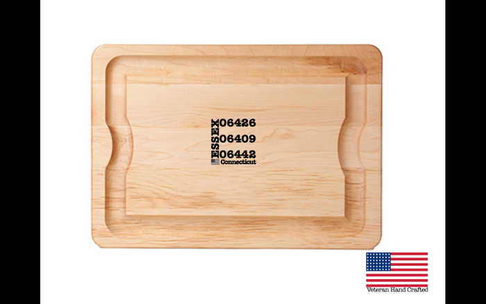 "Veteran Hand Crafted - Maple BBQ Carving Board - Essex CT Zip Codes (TM) - 14 x 20 x 1"" - $99.97"