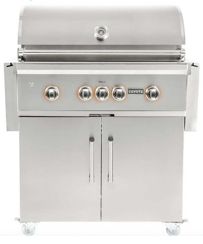 Coyote S-Series 36-Inch 4-Burner Propane Gas Grill With RapidSear Infrared Burner & Rotisserie - C2SL36LP + C1S36CT $3,497.97