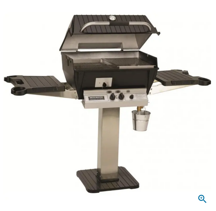 Broilmaster Q3X Qrave Propane Gas Grill On Stainless Steel Patio Post with Stainless Griddle $1,357.00