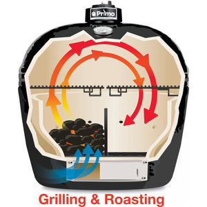 Primo All-In-One Oval Large Ceramic Kamado Grill With Cradle & Side Shelves $1,567.97