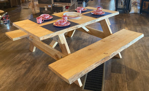 Picnic Table Live Edge Pine 8' - Hand Crafter in Maine for Swanky's (Delivery Restrictions Apply)