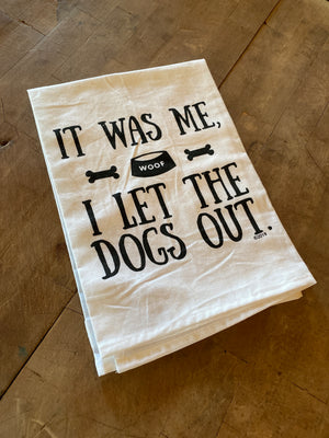 "Twisted Wares ""Dogs out"" Tea Towel"
