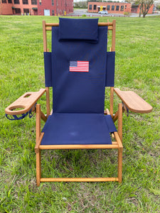 Cape Cod Beach Chairs Nauset Embroidered Flag (Navy Blue)