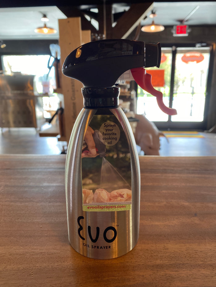 "Evo Oil Sprayer Bottle, Silver, Non-Aerosol for Olive Oil and Cooking Oils, Stainless Steel, 16-ounce Capacity $23.97 use discount code ""curbside"" at checkout for 10% Discount"