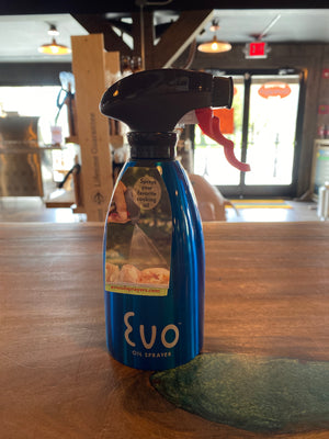 "Evo Oil Sprayer Bottle, Blue, Non-Aerosol for Olive Oil and Cooking Oils, Stainless Steel, 16-ounce Capacity $23.97 use discount code ""curbside"" at checkout for 10% Discount"