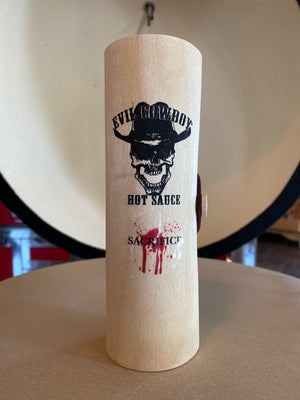 Evil Cowboy Hot Sauce - Wood Gift Cylinder Sacrifice Case - 5oz.