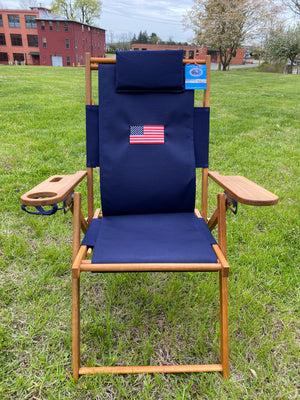 Cape Cod Chair Nauset Heights Embroidered Flag (Navy Blue)