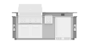 8' Outdoor Living Suite with Side Burner and Bar - GE Series