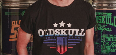 T-Shirt OLDSKULL OS Mighty Wings Black - Vintage USA OBAWI Tee-shirts store
