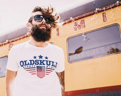 T-Shirt OLDSKULL OS Mighty Wings White - Vintage USA OBAWI Tee-shirts store