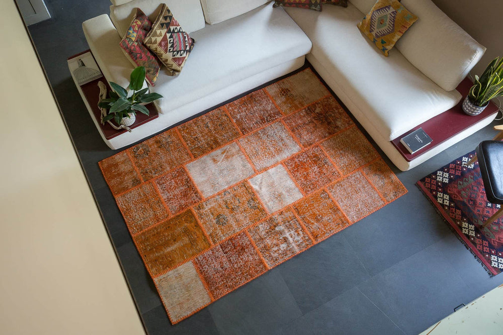 patchwork design rug	hand knotted rug	persian rug	persian home decor	oriental tribal art	rustic home decor	rustic rug	distressed handmade	traditional design	persian carpet	living room rug	corridor carpet	hallway rug