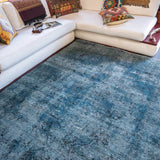 Persian Overdyed blue rug handwoven with quality wools