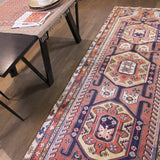 Turkish patchwork blue rug handmade with quality wools