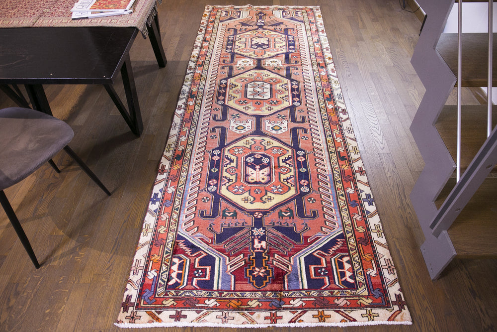 Turkish patchwork blue small rug handmade with quality wools