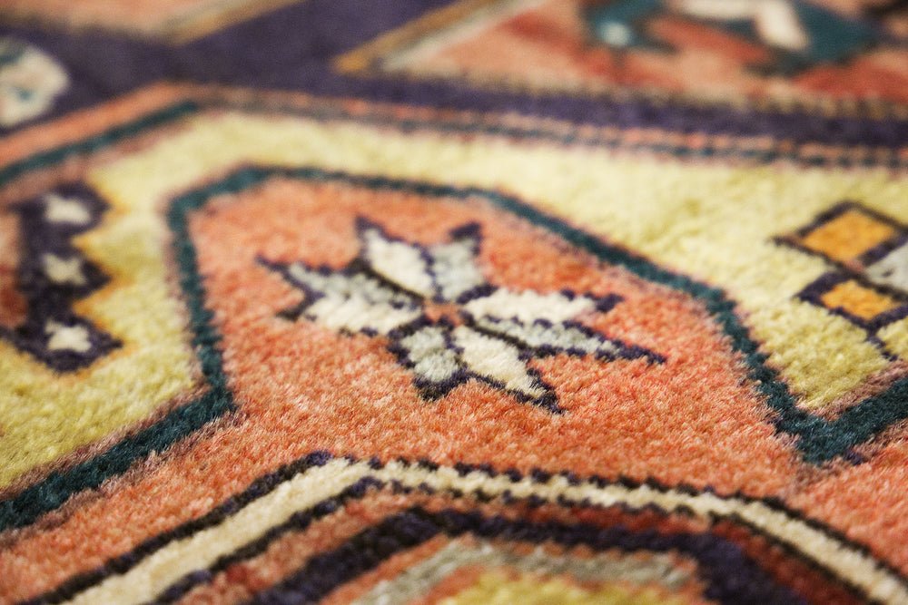 details of Turkish patchwork blue rug handmade with quality wools