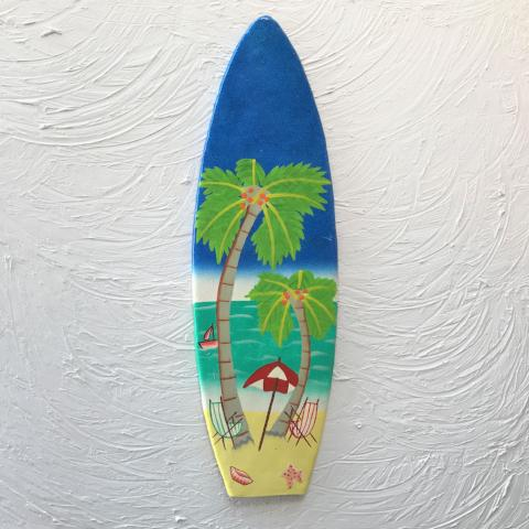 18in Metal Beach Scene Surfboard Wall Decor by Caribbean Rays