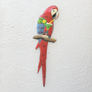 18in Metal Willie The Parrot Wall Art with Margarita by Caribbean Rays