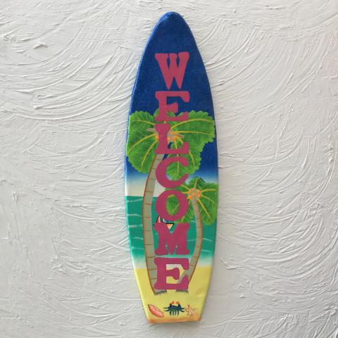 18in Metal Welcome Beach Scene Surfboard Wall Decor by Caribbean Rays