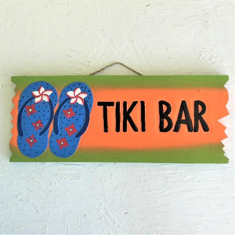 19in Tiki Bar With Flip Flops Wood Sign by Caribbean Rays