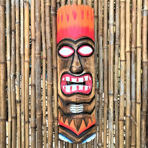 20in Orange Red Flame  Tiki Mask by Caribbean Rays