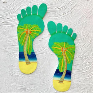 2pc 13in Teal Footprints Metal Wall Decor by Caribbean Rays