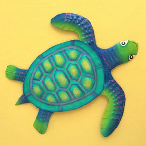 36in Teal Metal Baby Sea Turtle Wall Decor by Caribbean Rays
