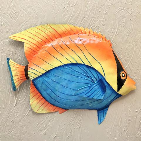 36in Metal Bandit Fish Wall Decor by Caribbean Rays